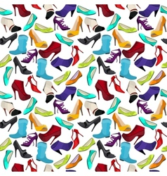 Seamless pattern with different shoes vector