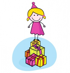 cute smiling kid with presents vector image