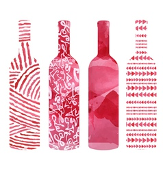 Set of art watercolor wine bottles vector