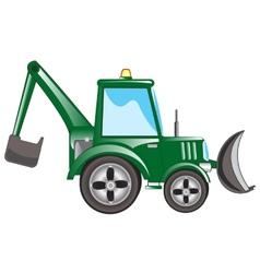 Green tractor excavator vector image