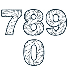 Single color ornate beautiful digits numbers with vector