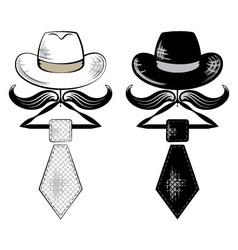 Hat and tie vector