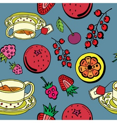 Fruit and tea pattern vector
