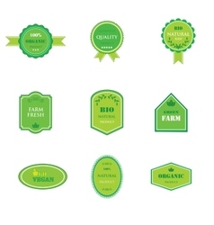 Set of labels for organic and natural food vector