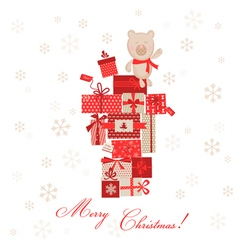 Vintage christmas card - christmas gifts with bear vector
