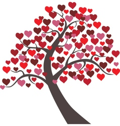 Tree hearts floral valentine vector