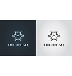 Set of compact monogram design template with vector