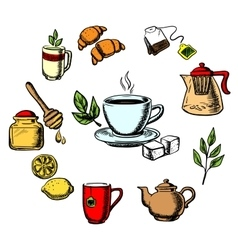 Herbal tea sweets and dishware vector