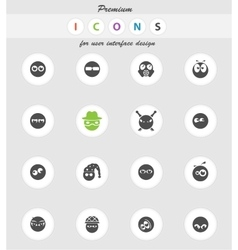 Emotions and glances icons set vector