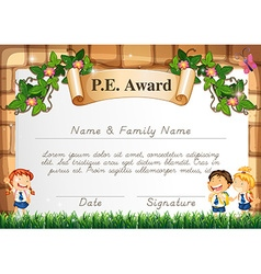 Certificate template for pe award vector