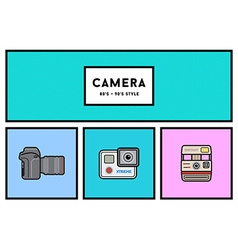 80s or 90s stylish photo camera icon set with vector