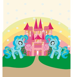 Card with a cute unicorns rainbow and fairy-tale vector