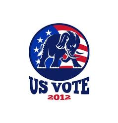 Republican elephant mascot usa flag vector