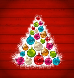 abstract Christmas tree and colorful balls on vector image vector image