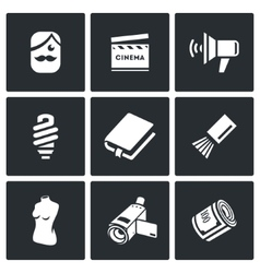 Actor and film industry icons set vector