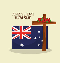 Anzac day lest we forget poster australian flag vector