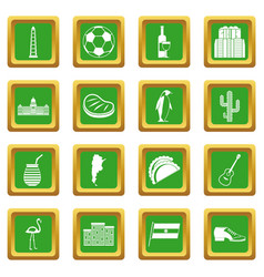 Argentina travel items icons set green vector