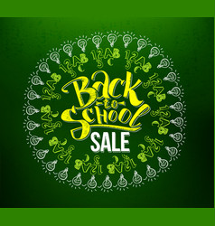 back to school sale lettering in circle vector image vector image