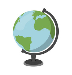 Cartoon globe icon schools supplies isolated vector