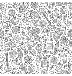 Cartoon hippie seamless pattern vector image