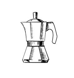 Coffee maker pot sketch icon vector