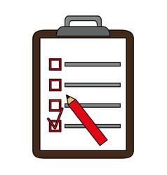 Color silhouette cartoon clipboard with checklist vector