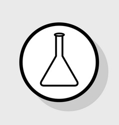 Conical flask sign flat black icon in vector