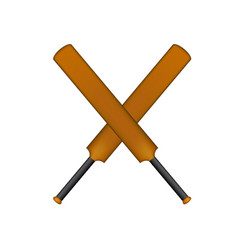 Crossed cricket bats in vintage design vector