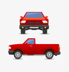 Flat red pickup car vehicle type design style vector