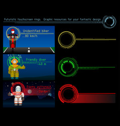 Futuristic touchscreen rings graphic resources vector