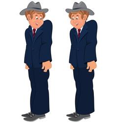 Happy cartoon man standing in striped tie and gray vector image vector image