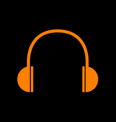 Headphones sign orange icon on black vector