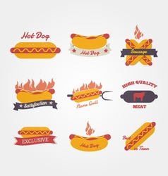 Hot dog flat design vintage label vector image vector image