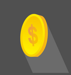 investment coins icon flat design with long vector image vector image