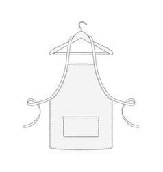 kitchen apron on hanger isolated on white vector image vector image