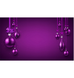 Purple luminous background with christmas balls vector