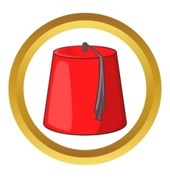Red turkish fez icon vector