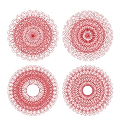 set of red guilloche rosettes vector image