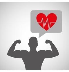 silhouette man bodybuilder heart rate vector image
