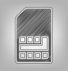 Sim card sign pencil sketch imitation vector