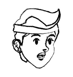 Sketch face boy sport style design vector
