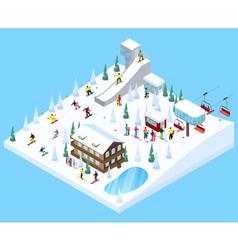 Ski village landscape element vector