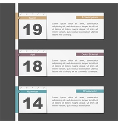 Timeline design with calendar pages vector