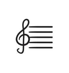 Treble clef sketch icon vector