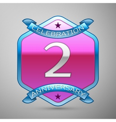 V years anniversary celebration silver logo with vector