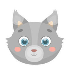 Wolf muzzle icon in cartoon style isolated on vector