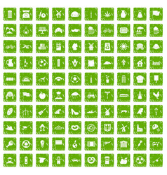 100 mill icons set grunge green vector