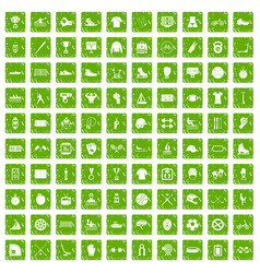 100 sport team icons set grunge green vector