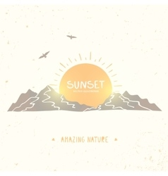 Mountain Sunset Silhouette vector image