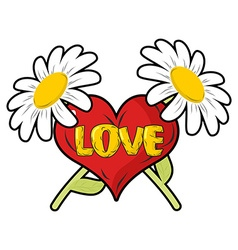 Love heart and chamomile logo for valentines day vector